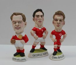 A World of Groggs resin figure of 'George North', 14cm high together with three others including Dan Biggar, Rhys Webb and Bleddyn Williams. Sold for £55 at Anthemion Auctions