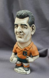 """A John Hughes pottery Grogg of David Campese, in Australia jersey, incised to the reverse """"Grand Slam 1984"""", 23cm high. Sold for £75 at Anthemion Auctions"""