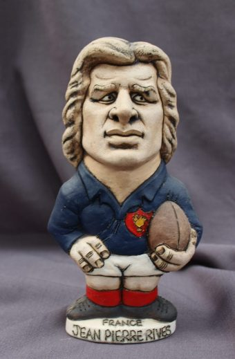A John Hughes pottery Grogg, of Jean Pierre Rives, in a French jersey with the No.6 on the reverse, 23.5cm high. Sold for £110 at Anthemion Auctions