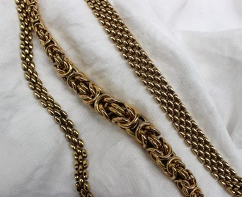 A 9ct yellow gold rope twist necklace 46cm long together with a 9ct gold three strand necklace and a 9ct gold five strand necklace, approximately 126 grams. Sold for £1,150 at Anthemion Auctions