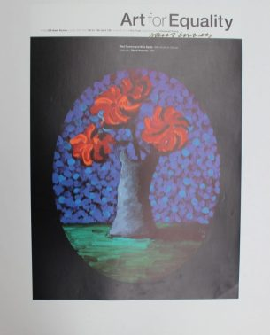 "After David Hockney, (Born 1937) ""Red flowers and blue spots, 1986"" A poster for Art for Equality Signed in pen 59.5 x 42.5cm. Sold for £220 at Anthemion Auctions"