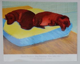 """fter David Hockney, (Born 1937) """"Dog painting 38, 1995"""" A Poster for 1853 Gallery, Salt Mills, Saltaire, Yorkshire Signed in pen 53 x 64.5cm. Sold for £170 at Anthemion Auctions"""