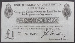 A United Kingdom of Great Britain and Ireland One Pound note, John Bradbury, Secretary to the Treasury, T11, B1/25 No.07388. Sold for £360 at Anthemion Auctions