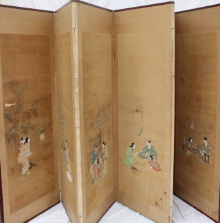 22nd August Fine Sale - Furniture Lot 374. A Japanese silk and paper six fold screen, the silk panels each individually painted with internal and external figural scenes, seal mark and script signature to each, overall each panel 173cm x 62.5cm the silk sections each 138 x 50cm