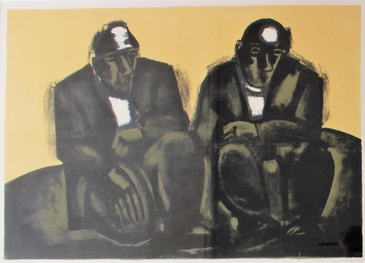 Sold for £750. Josef Herman - Two Miners, A limited edition print, No.50/75, Signed in pencil to the margin, 47 x 67cm (image size)