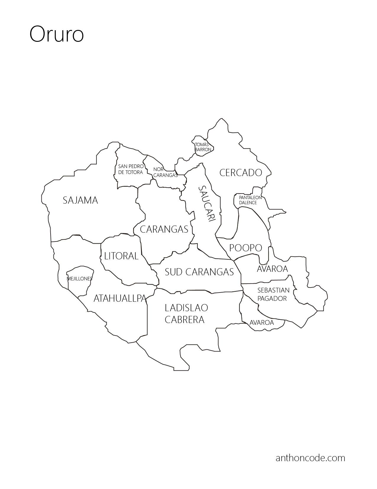 Mapa De Bolivia Departamentos Y Provincias Para Colorear
