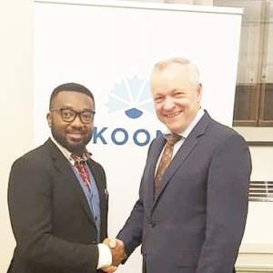 Anthony-Claret Onwutalobi With the National Coalition Party leader Kalle Jokinen