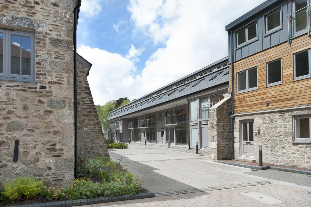 Street view at Perran Foundary, cornish granite and timber apartments