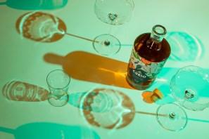 Curio bottle in green light