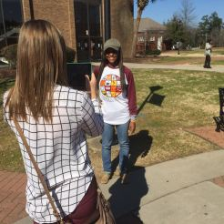 Students used mobile devices to shoot many of the interviews.