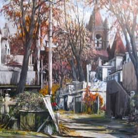"Behind Robert Street and Bloor, Toronto |  36"" x 36"" acrylic 