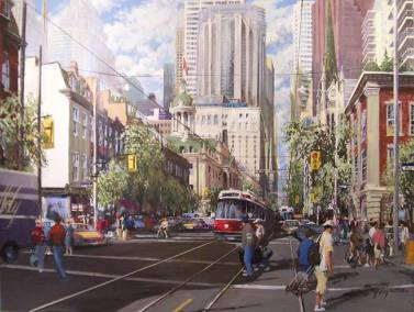 "Heading East, Queen Street East at George | 36"" x 48"" acrylic on canvas 