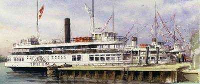 "The Trillium at Dock | 8"" x 19.5"" watercolour | private collection"