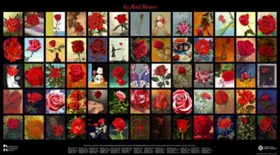65 Roses Project |  A fund raiser for the Canadian Cystic Fibrosis Foundation organized by the Federation of Canadian Artists in Vancouver. Tony's panel is the initial one in the top upper left of this composite work. The sale of posters became a significant fundraiser as this work toured a number of British Columbia communities.