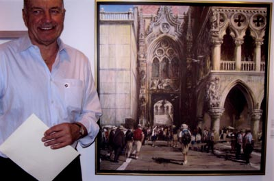 "2009. Tony with his award winning acrylic ""On the Grand Tour, the Doge's Palace, Venice"" at the Art Gallery of Hamilton."