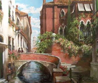 "A Quiet Canal in the Dorsoduro, Venice | 30"" x 36"" acrylic on canvas 