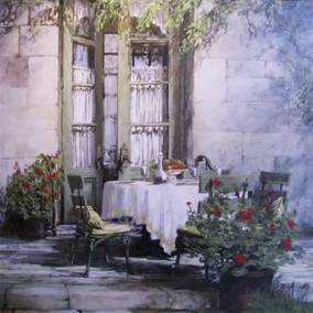 "Called Inside, Normandy, France | 36"" x 36"" acrylic on canvas 