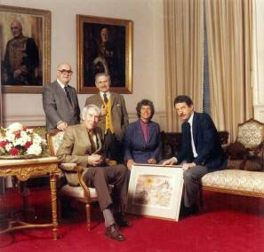 1985. Diamond Jubilee Committee, 1985. The Canadian Society of Painters in Water Colour. John B. Aird, Lt. Gov of Ontario, Wil Ogilvie, Julius Griffith, Cynthia Kemerer and Anthony J. Batten.