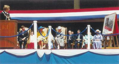 July 17, 1987. Presentation by Art Eggleton, Mayor of Toronto, of a watercolour by Anthony J. Batten C.S.P.W.C. to their Royal Highnesses, The Duke and Duchess of York, during their first official state visit to Metropolitan Toronto.