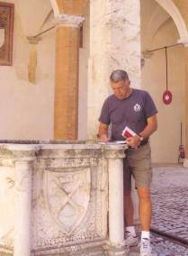 Summer 2010. Sketching in Spoleto's historic Papal Fortress - The Rocca, Italy.