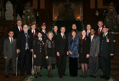 December 13, 2012. The formal photograph of the recipients of the Diamond Jubilee Medal, Queen's Park Government Buildings, Toronto.