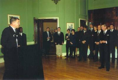 Tony delivering the address at Canada House. HRH Prince Charles is on the right.