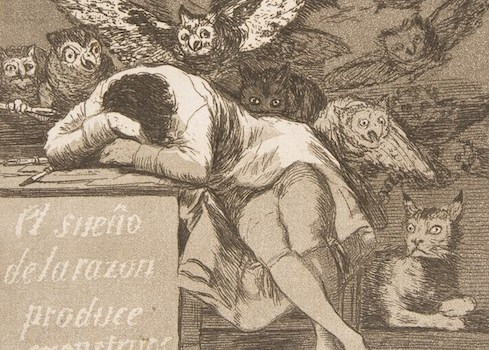 "Goya, ""Los Caprichos"": The sleep of reason produces monsters, 1799."