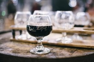 A snifter of dark beer
