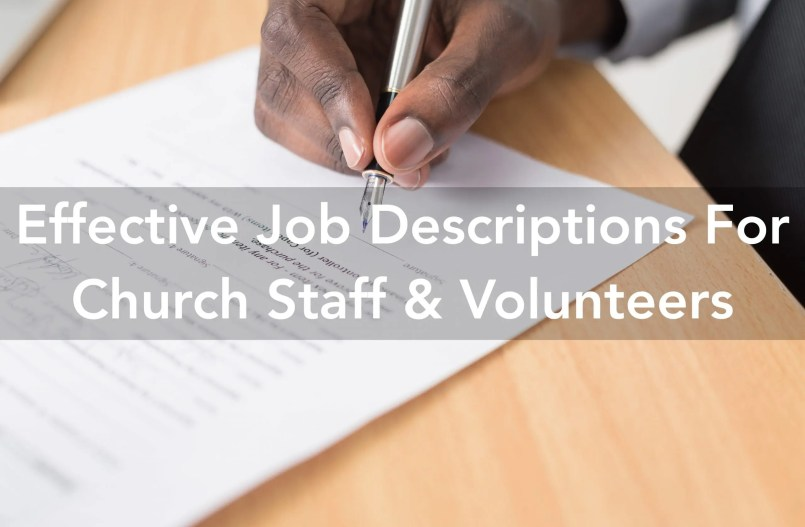 church job descriptions for staff and volunteers