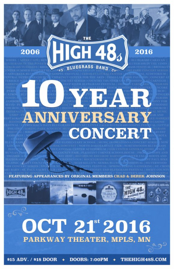 The High 48s Celebrate 10 Years on Oct. 21st, 2016 at the Parkway Theater in Minneapolis!