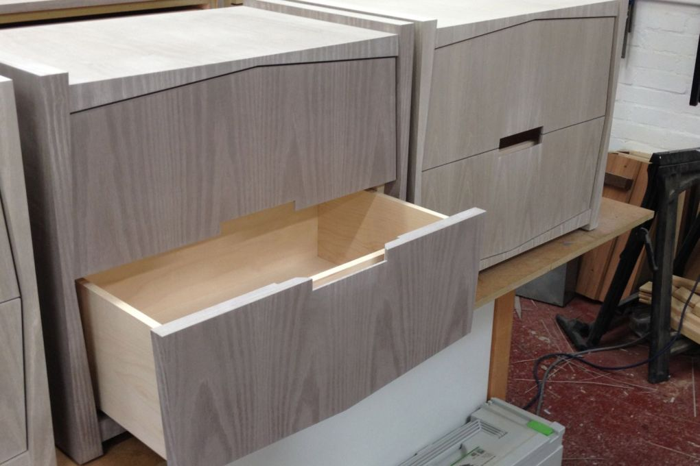 Bedside Table Drawers Lined in Maple Opening via Concealed Runners-gallery