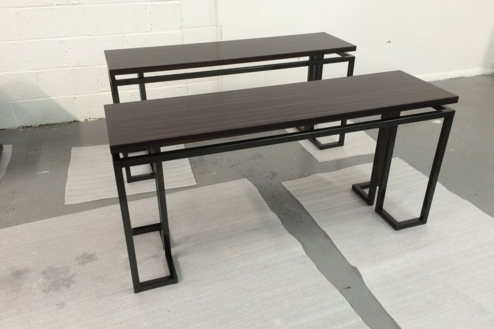 Contemporary Console Table in Ebony Steel Gunmetal Finish-gallery