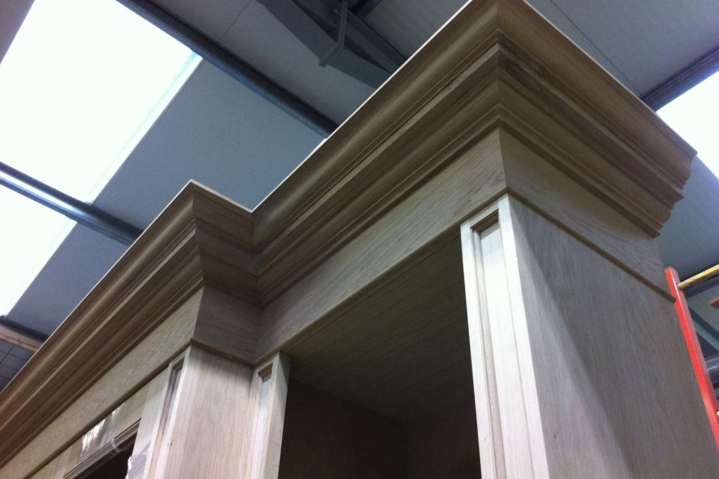 Cornice and Pillaster Detail of Large Oak Bookcase-gallery