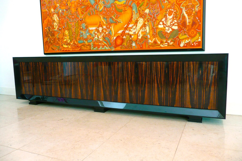 Credenza in High Gloss Black Lacquer and Macassar Ebony