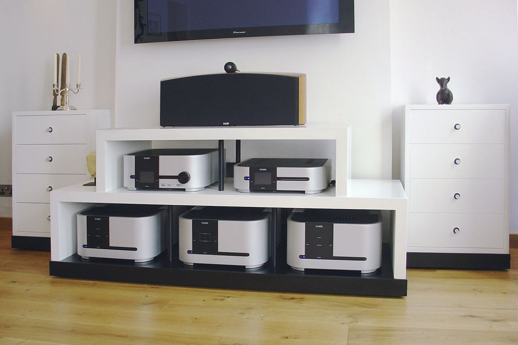 Hi Fi Audio Cabinet in White Lacquer Anodised Aluminium and Black Laminate-gallery