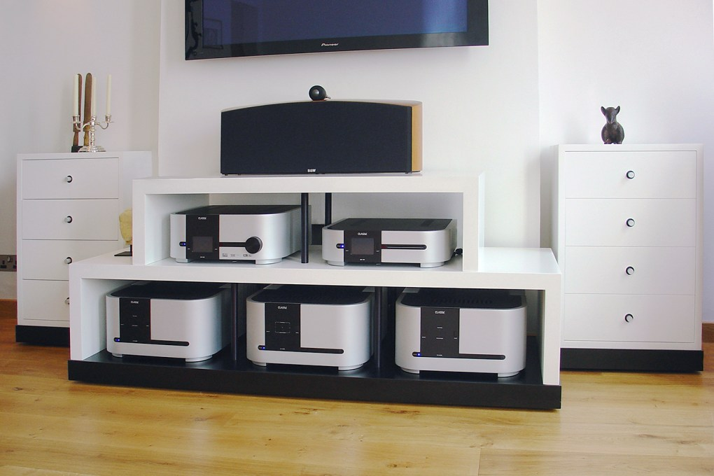 Hi Fi Audio Cabinet in White Lacquer Anodised Aluminium and Black Laminate