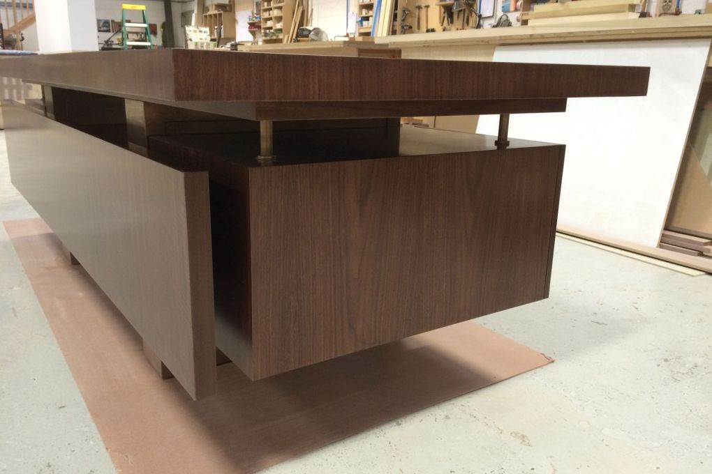 Large Mid Century Modern Styled Freestanding Desk with Privacy Panel in Walnut and Bronze-gallery