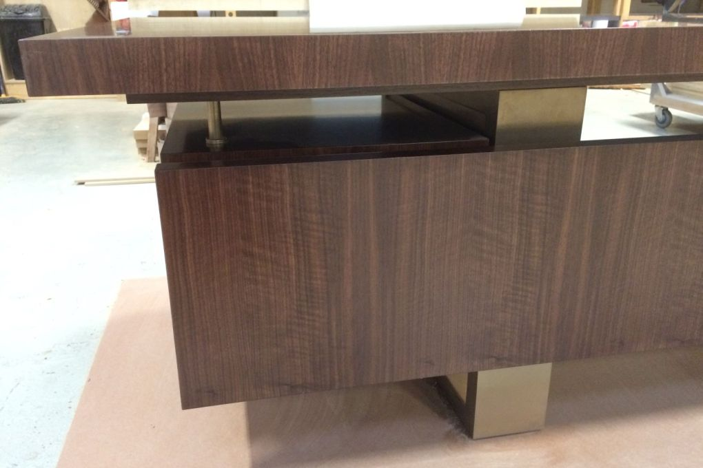 Mid Century Modern Styled Freestanding Desk Walnut Privacy Panel and Bronze Leg Structure-gallery