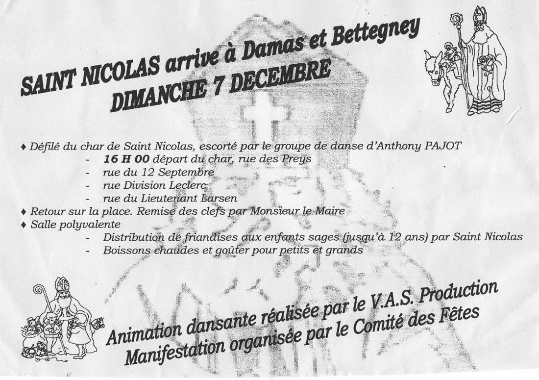 Saint Nicolas arrive à Damas et Bettegney