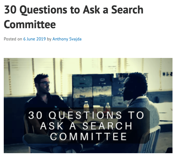 New Post on CaffeinatedTheology – 30 Questions To Ask A Search Committee