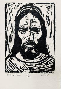 Savior of All 5x7 Linocut