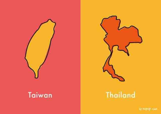 Outlines of Taiwan and Thailand
