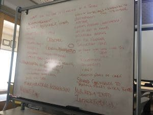 Photogrpah of a whiteboard with red text