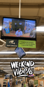 "The author takes a photo of themselves in a CCTV screen in a store; a filter says ""Weekend Vibes."""