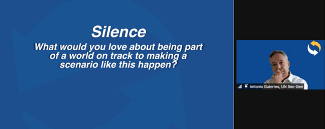 A Powerpoint slide on a Zoom call reads: Silence. What would you love about being part of a world on track to making a scenario like this happen?