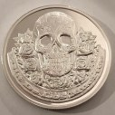 Coin. 47mm diameter collectable coin. Day of the Dead theme.