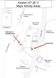 Aztalan map with areas to be excavated noted, via Dr. Lynne Goldstein