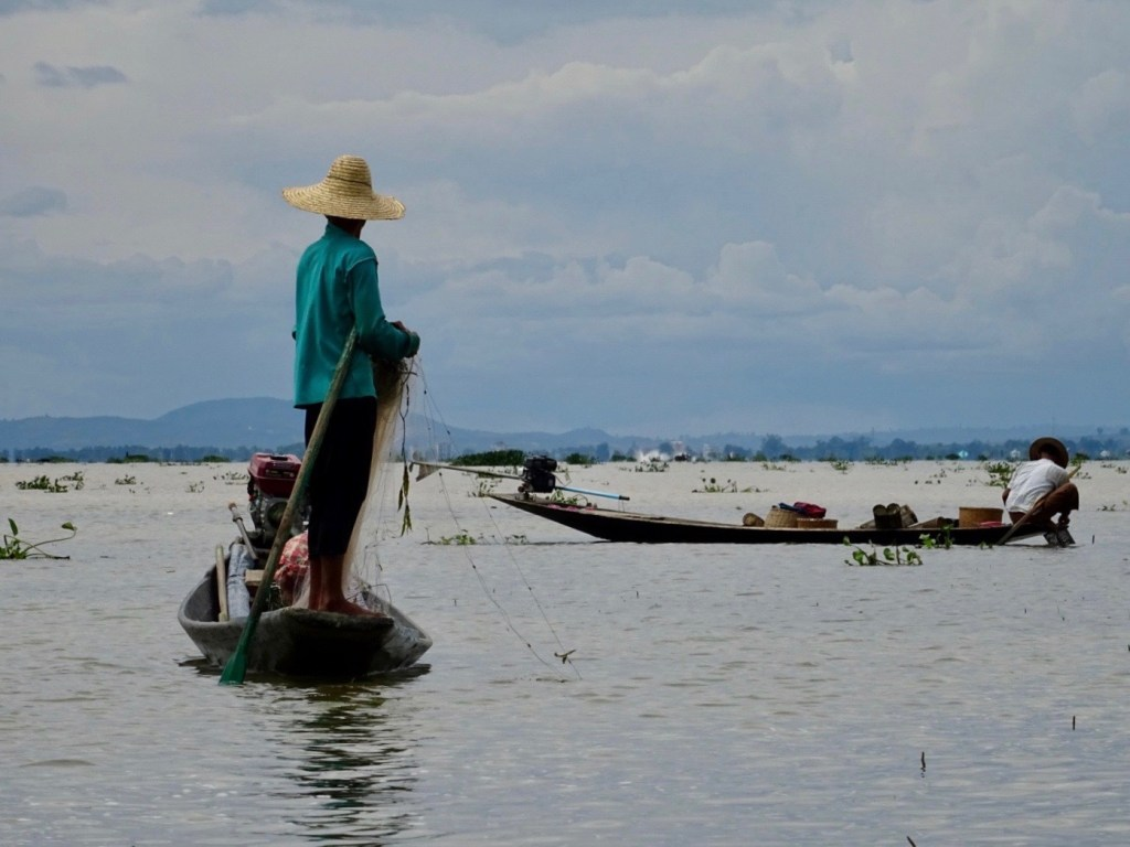 a man fishing in Inle Lake, Myanmar