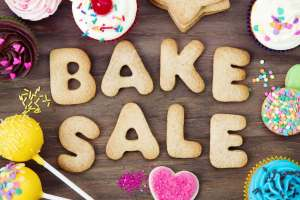 bake sale spelled in cookies