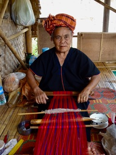 Myanmar woman weaving